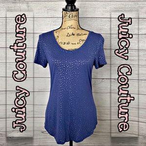 Juicy Couture | Women's Blue Foil Dot Tee SZ M